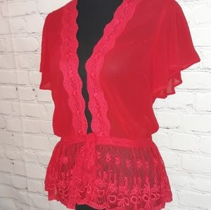 Anthropologie a'reve Sheer Red Front Tie Boho Top